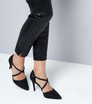 Black Glitter Cross Strap Pointed Heels New Look