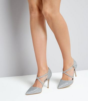 Silver Glitter Cross Strap Pointed Heels New Look