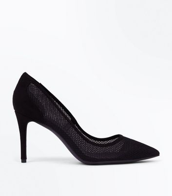 Black Mesh Pointed Court Shoes | New Look