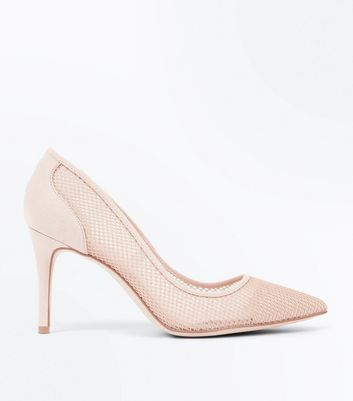 Nude Mesh Pointed Court Shoes New Look