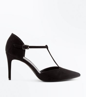 Black Suedette T-Bar Pointed Court Shoes New Look