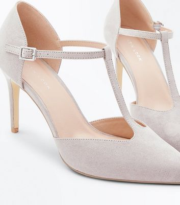 Grey Suedette T-Bar Pointed Court Shoes New Look