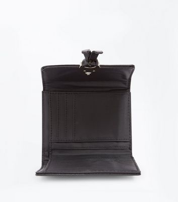Black Front Knot Purse New Look