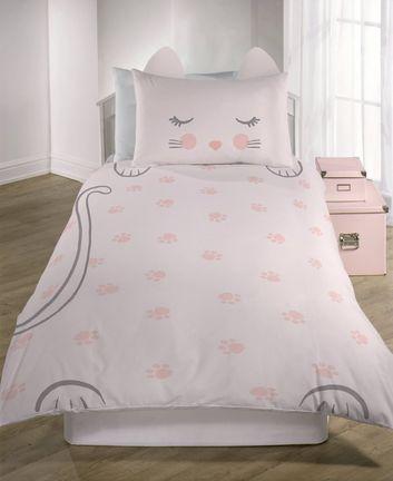 Pink Cat Single Duvet Set New Look