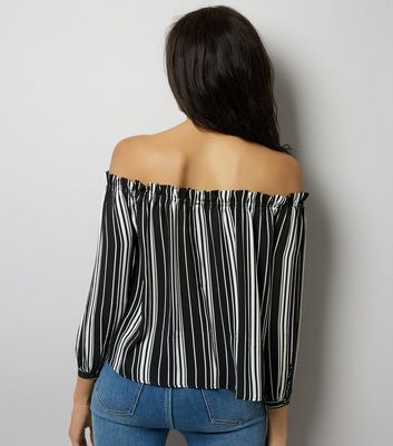 Cameo Rose Stripe Button Front Bardot Neck Top New Look