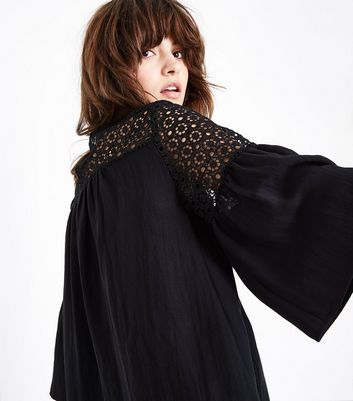 Black Crochet Yoke Flutter Sleeve Top New Look