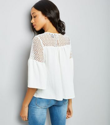 White Crochet Yoke Flutter Sleeve Top New Look