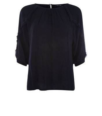 Black Fringe Sleeve Top New Look
