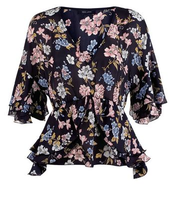 Black Floral Frill Trim V Neck Top New Look