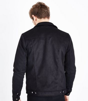 Black Suedette Denim Jacket New Look