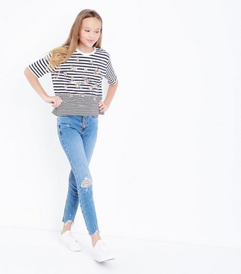 Teens Blue Floral Stripe T-shirt New Look