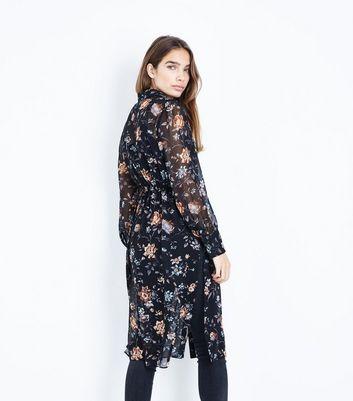 Black Floral Chiffon Longline Shirt New Look