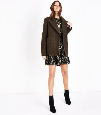 Khaki Textured Pea Coat New Look