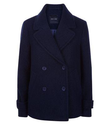 Navy Textured Pea Coat New Look