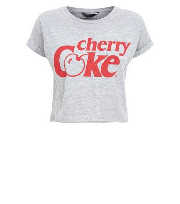 Grey Cherry Coke Slogan T-Shirt New Look