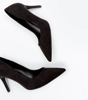 Black Suedette Stiletto Heel Pointed Court Shoes New Look