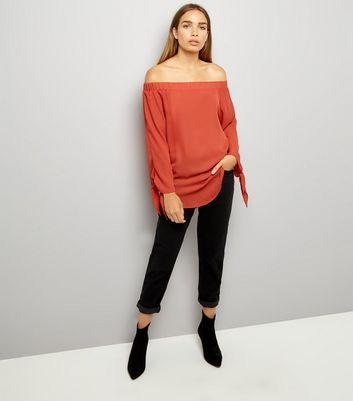 Cameo Rose Brown Bardot Neckline Tie Sleeve Top New Look