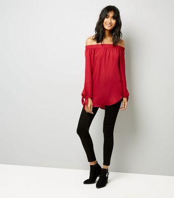 Cameo Rose Red Bardot Neckline Tie Sleeve Top New Look