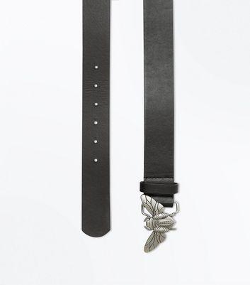 Black Bug Buckle Jeans Belt New Look