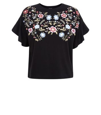 Teens Black Floral Embroidered Frill Sleeve Top New Look