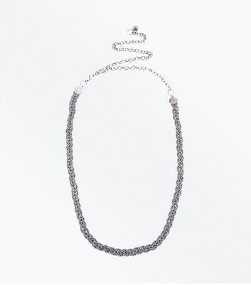 Silver Diamante Plait Chain Belt New Look