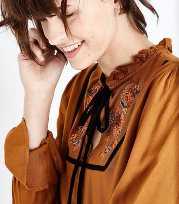 Rust Floral Embroidered Tie Neck Top New Look