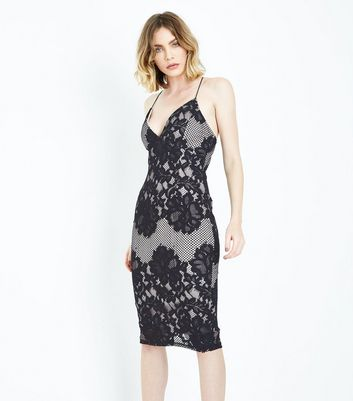 AX Paris Black Lace Strappy Midi Dress New Look