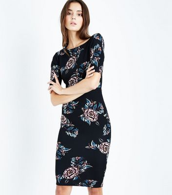 AX Paris Black Floral Midi Dress New Look