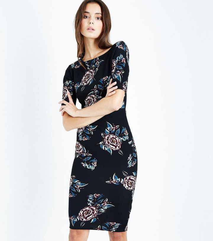 1f10ad486d1b AX Paris Black Floral Midi Dress | New Look