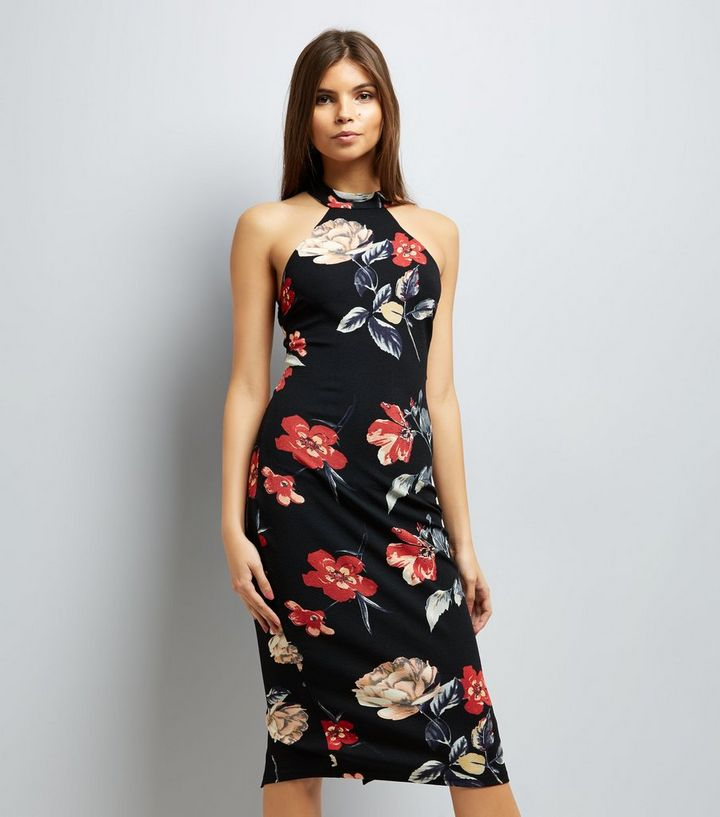 6ef0e182ea2f AX Paris Black Floral Print High Neck Midi Dress | New Look