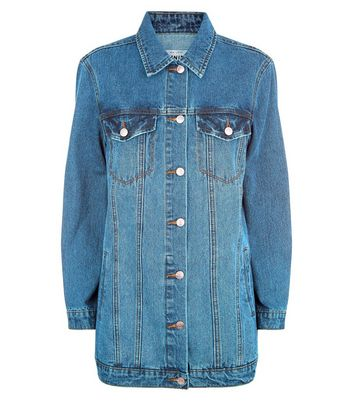 Blue Longline Denim Jacket New Look