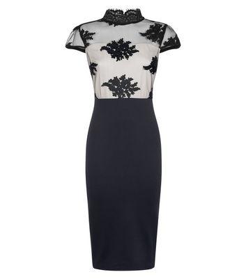 AX Paris Black Floral Mesh 2 in 1 Dress New Look