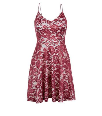 AX Paris Red Lace Strap Back Dress New Look