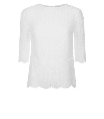 Apricot White Eyelash Lace Top New Look