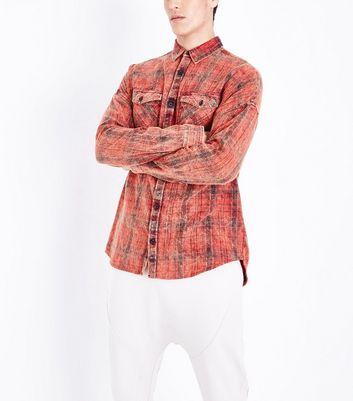 Red Acid Washed Check Shirt