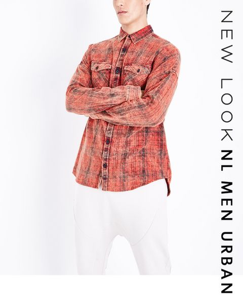ce38361990a ... Red Acid Washed Check Shirt ...