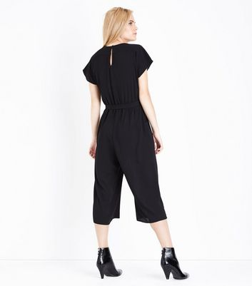 Black Wrap Front Culotte Jumpsuit New Look