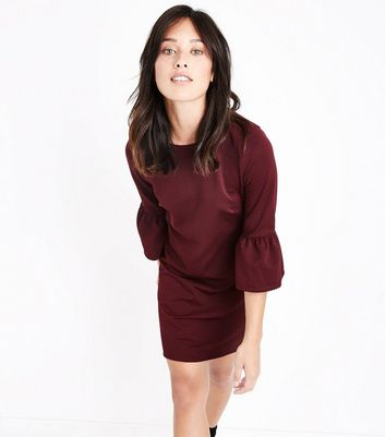 Burgundy Bell Sleeve Jersey Tunic Dress New Look