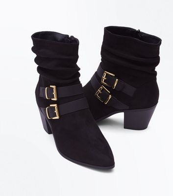 Black Suedette Double Buckle Side Slouch Boots New Look