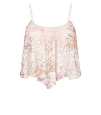 Pink Floral Lace Hanky Hem Cami New Look