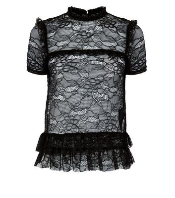 Black Tiered Lace Top New Look