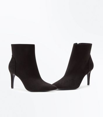 Black Suedette Pointed Stiletto Ankle Boots New Look
