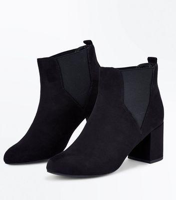 Black Comfort Flex Suedette Block Heel Boots New Look