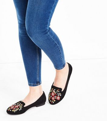 Black Suedette Floral Embroidered Loafers New Look