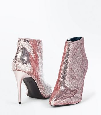 Rose Gold Sequin Pointed Stiletto Heeled Boots New Look