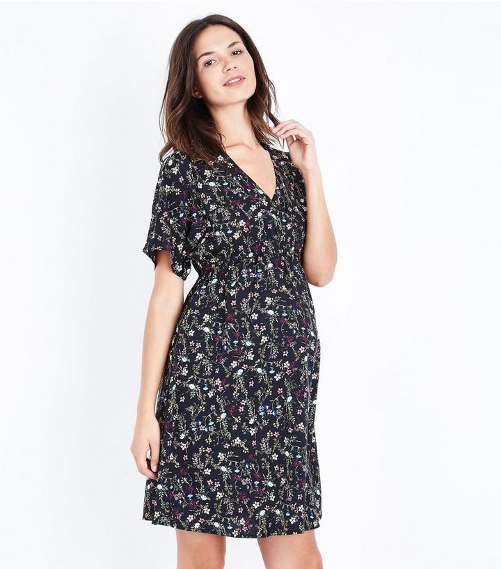 6ef3ca2ac7e1a Maternity Black Floral Wrap Front Dress | New Look