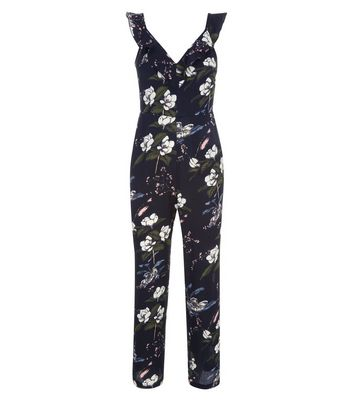 Petite Black Floral Frill Neck Culotte Jumpsuit New Look