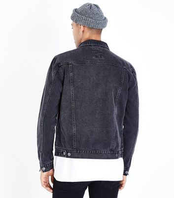 Dark Grey Denim Jacket New Look