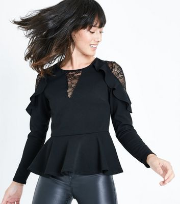 Black Lace Trim Peplum Hem Scuba Top New Look