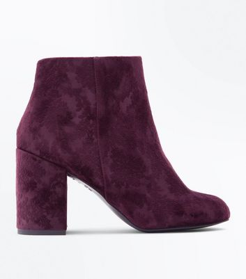 Dark Purple Velvet Floral Embossed Heeled Boots New Look